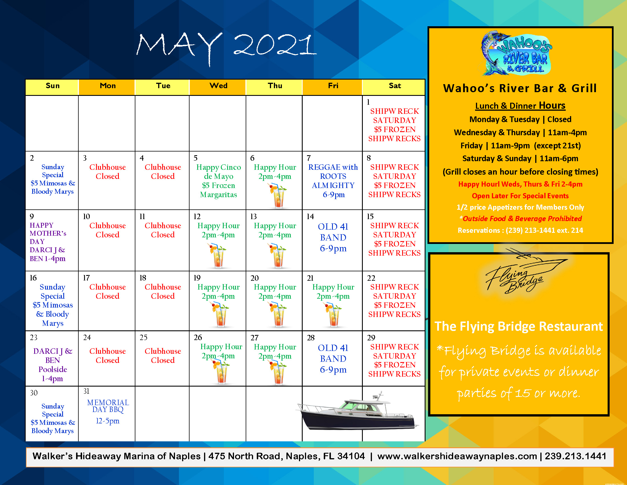 Wahoos May 2021 Calendar